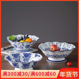 Ceramic fruit snack plates home furnishing articles to the sitting room tea table decoration of new Chinese style big fruit bowl of blue and white porcelain