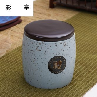 Shadow at jingdezhen ceramic caddy fixings general seal pot home small moistureproof receives two half jins of storage tanks