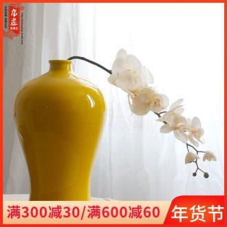Jingdezhen ceramic vase furnishing articles red celadon home sitting room simulation flower narrow saliva to raise flowers, dried flowers, flower arrangement