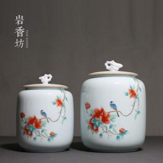 YanXiang fang rich tea canister sealing ceramic blue white porcelain POTS large