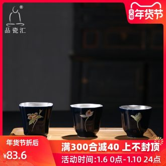 The Product of jingdezhen porcelain remit ji blue glaze cup kung fu tea set manually coppering. As silver master single CPU ceramic cup
