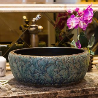 Jingdezhen ceramic lavatory simple household basin bathroom sink basin to restoring ancient ways round art on stage