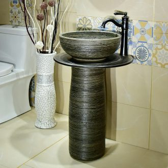 Ceramic basin of pillar type washbasin hand - carved archaize line pillar of small family toilet floor for wash gargle