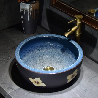 Jingdezhen ceramic table sinks contracted lucky flower stage basin circular archaize home toilet lavabo