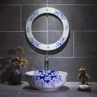 On the blue and white porcelain basin bathroom balcony sink Chinese ceramic art basin washing a face wash basin