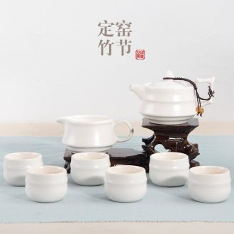 JiaXin tea sets up of a complete set of kung fu tea tea cups, black white green ceramic POTS three