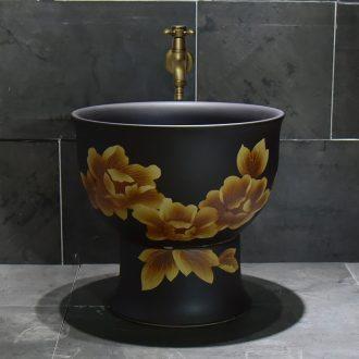 Jingdezhen ceramic golden peony mop pool home antique art restoring ancient ways is the balcony toilet easy mop pool