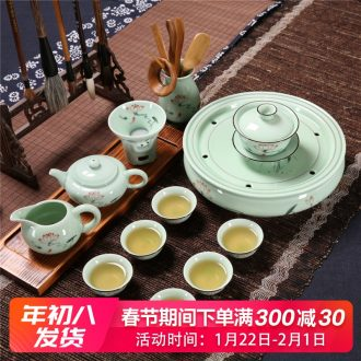 Household celadon chaoshan chaozhou kunfu tea tea cup lid bowl suit ceramic circular water small tea tray