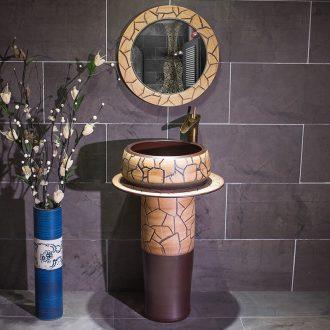 Lavabo of jingdezhen ceramic creative floor balcony sink basin pillar type lavatory toilet