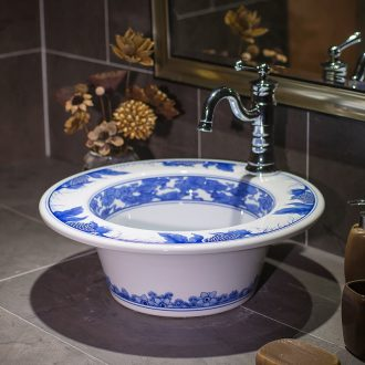 Household circular blue and white porcelain art on the lavatory basin to wash toilet lavabo ceramic I and contracted