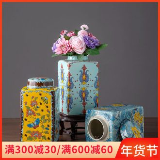 Jingdezhen ceramic pot storage tank TV ark, creative office furnishing articles of new Chinese style home sitting room adornment