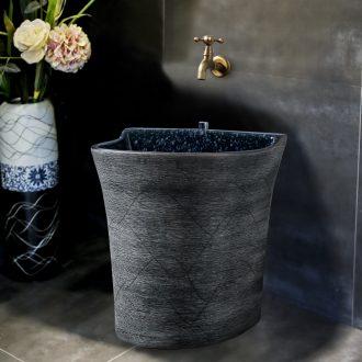 Ling yu wood carving art mop pool black ceramic mop pool household balcony toilet mop pool restoring ancient ways
