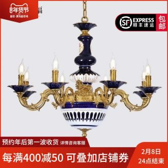 French carried all copper ceramic chandeliers villa key-2 luxury European - style palace sitting room dining - room retro droplight of creative move