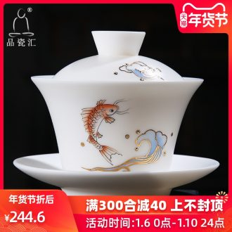 The Product dehua porcelain remit hand - made paint only three tureen checking porcelain cups single ceramic bowl tea set