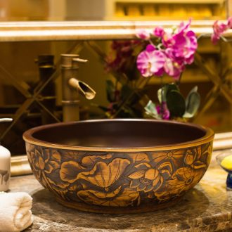 Antique Chinese classical art on the stage basin sink ceramic face basin lavatory basin creative household water basin