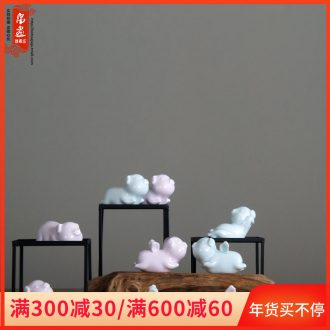 "Ceramic pig flies home furnishing articles furnishing articles eye pink/shadow cyan ceramics ""place adorn article"