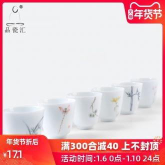 The Product porcelain sink dehua white porcelain ceramic art hand - made fragrance - smelling cup flowers and the plants pure and fresh tea cup manual sample tea cup
