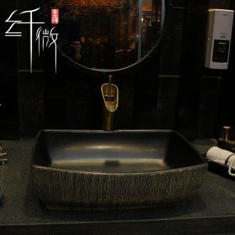 Nordic ceramics on the basin washing a face a rectangle household washing basin bathroom balcony rectangular art basin
