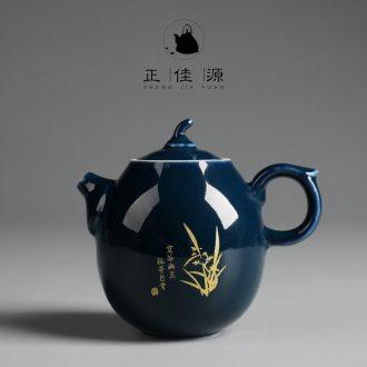Is good source ji blue glaze ceramic teapot kung fu tea tea office home filtering large Japanese single pot