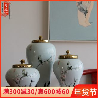 Jingdezhen ceramic household hand - made painting of flowers and dried flowers, vase gold - plated cover China sitting room adornment flowers