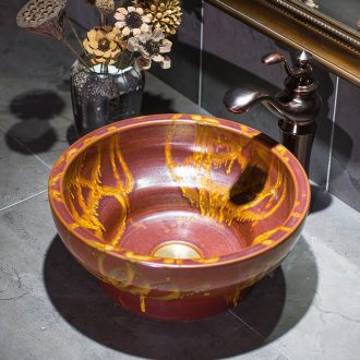 European small family art stage basin archaize ceramic lavatory Chinese style restoring ancient ways round basin on the sink