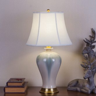 New Chinese style lamp jingdezhen high - temperature up ceramics of bedroom the head of a bed full of copper fittings hotel villa decoration lamps and lanterns