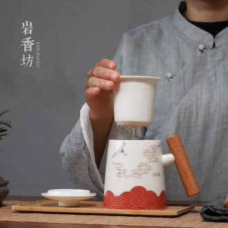 "YanXiang fang xiangyun office tea cup mark cup with cover filter cups will ""bringing glass ceramics"