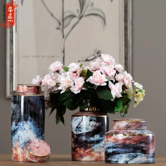 I and contracted American retro creative painting home TV ark, porch ceramic flower arranging soft adornment porcelain pot