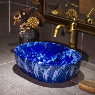 Jingdezhen square sink basin stage basin ceramic European - style bathroom art basin sinks of the basin that wash a face