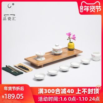 Porcelain sink know bamboo tea tray tea set suit visitor teahouse that occupy the home of a complete set of ceramic kung fu tea tea