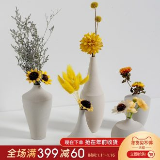 Nordic ceramic art element embryo vase furnishing articles TV ark, simulation flower arranging flowers, dried flowers, contracted sitting room floret