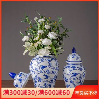 Blue and white porcelain furnishing articles archaize sitting room adornment of new Chinese style household the general pot of jingdezhen ceramic storage tank