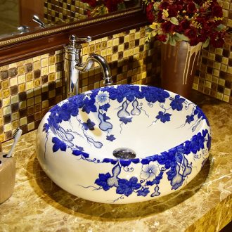 European ceramic lavabo blue and white sink toilet stage basin of the oval art basin bathroom sinks