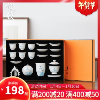 Ultimately responds to Japanese kung fu tea set suit household creative ceramic small tureen cup tea taking tea gift box