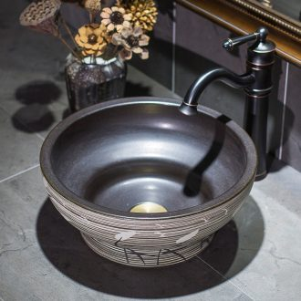 On the ceramic bowl round Europe type restoring ancient ways art basin sink basin bathroom sinks balcony sink