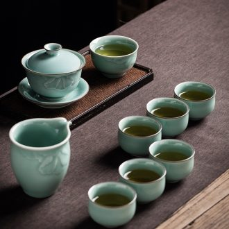 Hand cut three tureen suit only longquan celadon household ceramic tea, Chinese kung fu tea set gift boxes