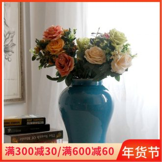 Jingdezhen ceramic vase furnishing articles blue jar, the sitting room home flowers grain dry flower arranging flowers adornment wide expressions using