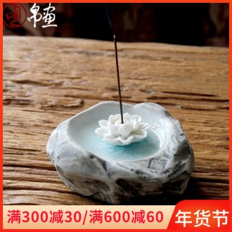 Freehand brushwork in traditional Chinese painting modelling joss stick incense incense coil seat manual ice cracked piece of fragrant incense incense coil device simulation stone decoration ceramics