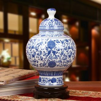 Chinese blue and white porcelain of jingdezhen ceramics sweet fish grain and grain cover pot vase decoration sitting room adornment is placed