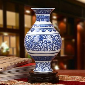 Furnishing articles antique Chinese blue and white porcelain of jingdezhen ceramics waist drum auspicious dragon flower vases, modern home Furnishing articles