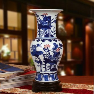 Jingdezhen blue and white ceramics youligong lotus classical Chinese antique vase home furnishing articles of handicraft