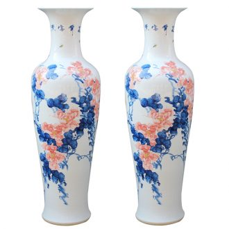 Jingdezhen ceramics hand - made porcelain youligong peony riches and honour of large vase palace hall decoration furnishing articles