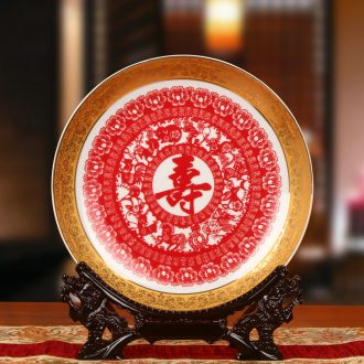 Jingdezhen ceramics the see colour red life word faceplate hang dish plate was contracted and I household adornment furnishing articles