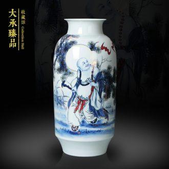 Jingdezhen ceramics vase hand - made paint ocean 's great blessing of blue and white porcelain vase modern household adornment furnishing articles