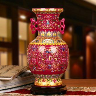Jingdezhen ceramics high - grade crystal glaze rosy ear branch lotus bottles of modern Chinese style household furnishing articles