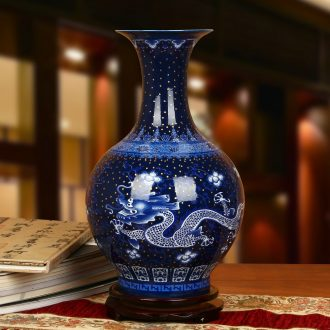 Jingdezhen ceramics high - grade enamel see colour blue and white gold sapphire blue dragon bead flower bottles of modern home decoration furnishing articles