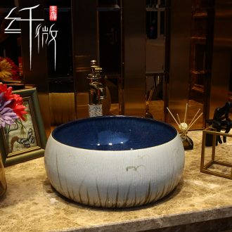 35 cm stage basin of restoring ancient ways round Chinese style household ceramic wash basin small art bathroom sinks the pool