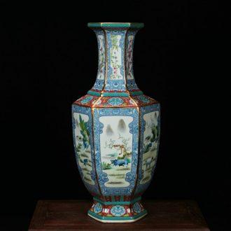 Jingdezhen ceramics vase archaize colored enamel blue over the six - party vase household adornment ornament