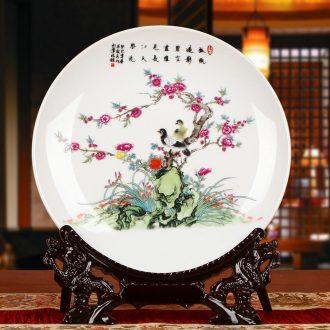 Jingdezhen ceramics powder enamel pay-per-tweet faceplate hang dish of modern home decoration decoration decoration plate