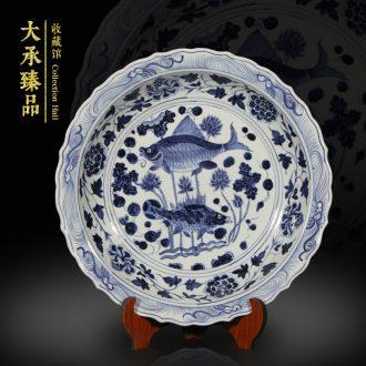 Archaize of jingdezhen yuan blue and white hand draw fish algae grain ceramic furnishing articles furnishing articles classical study large sitting room handicraft